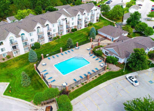 Aerial view of Outdoor Pool and Sundeck at Brentwood Park Apartments in La Vista, NE