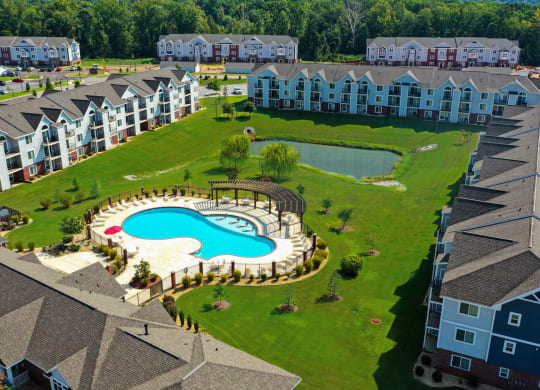 Aerial View of Apartments and Pool at Limestone Creek Apartment Homes, Madison, AL 35756