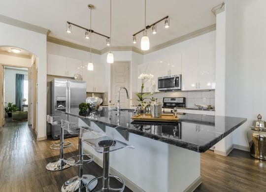 Fitted Kitchen With Island Dining at Villages of Georgetown, Georgetown, TX, 78626