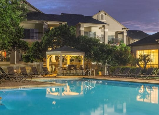 Picturesque Pool And Cabana Setting at San Marin, Austin