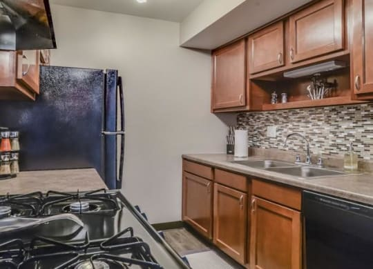 Modern kitchens in The Orchards at Four Mile Apartments. Located in Grand Rapids, MI