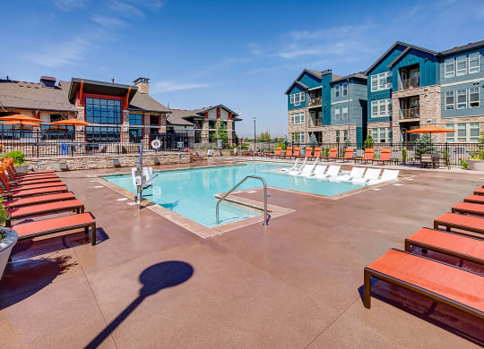 Sundeck and pool at Windsor at Pinehurst, Lakewood, Colorado