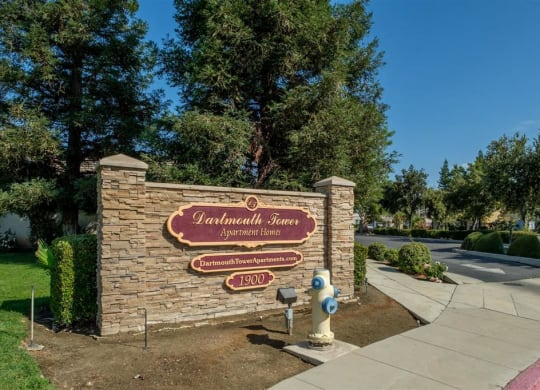 Property Signage at Dartmouth Tower at Shaw, Clovis, California
