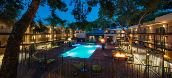 Pool and pool patio at dawn at Treehouse Apartments in Tucson AZ August 2020