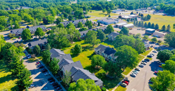 Drone View of Community at Fairlane Apartments, Springfield, Michigan