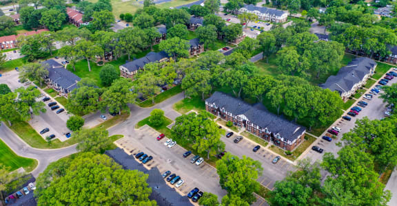 Aerial View of Off Street Parking at Glen Oaks Apartments, Muskegon, 49442