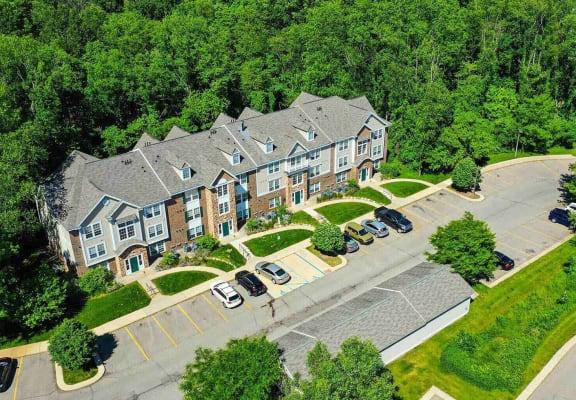 Aerial View of Parking Lot and Apartments at Tall Oaks Apartment Homes, Kalamazoo, MI