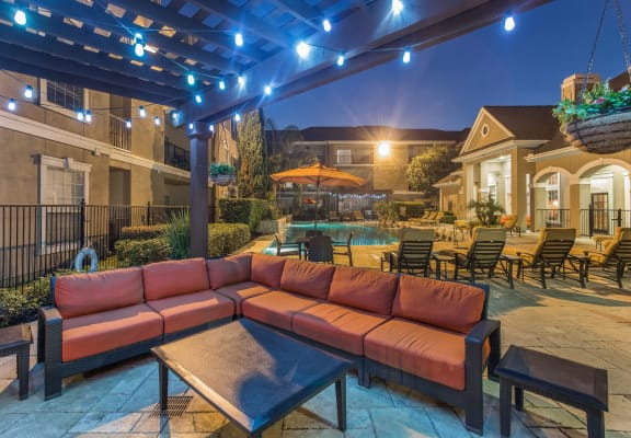 Poolside Lounge Area at Estates at Bellaire, Texas, 77081