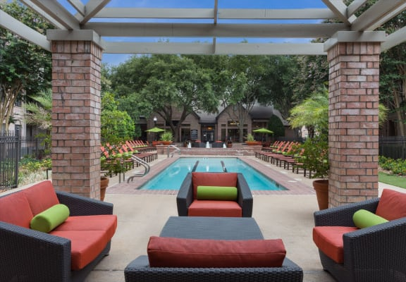 Poolside Relaxing Area at Greenbriar Park, Houston, Texas
