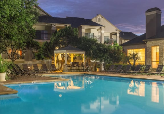 Picturesque Pool And Cabana Setting at San Marin, Austin, TX