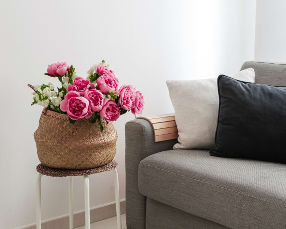Gray couch with pot of flowers