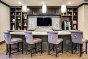 bar counter with stools in apartment building