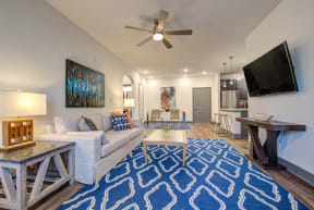 large living room space with ceiling fan and television for in apartment unit