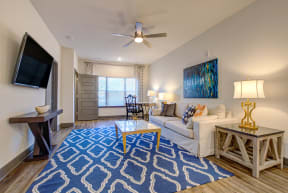 large blue rug with intricate woven pattern in living room space