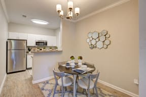 Kitchen/Dining room area with modern contemporary decorations