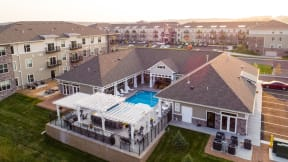 Aerial View of the Outdoor Pool and Sundeck