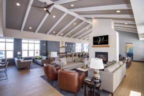 Clubroom with Large Kitchen and Island