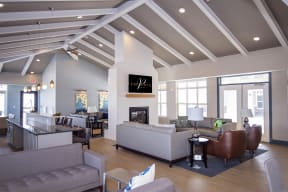 Clubroom with Multiple Lounges and Fireplace with Chimney that Extends to Ceiling