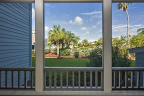 Screened In Patio Overlooking the Pool Sundeck and Palm Trees
