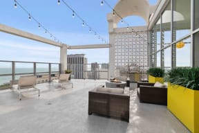 Rooftop sun deck with fire pit