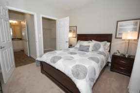 This bedroom fits a queen/full size bed easily