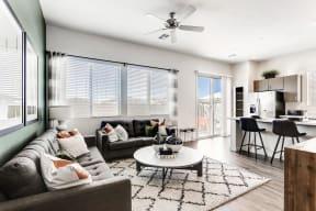 Modern Living Room With Kitchen View at Avilla Camelback Ranch, Phoenix, Arizona