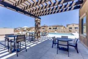 Shaded Lounge Area By Pool at Avilla Camelback Ranch, Phoenix, Arizona