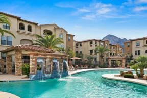 Pool with water feature | Villas at San Dorado