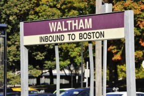 MBTA sign in Waltham | Inbound to Boston