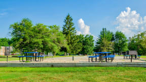 Blue Picnic Tables in BBQ Area| The Boulders