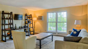 Living room with large windows | 2 bedroom apartment