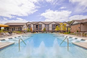 Lovely One White Oak swimming pool and comfortable seating areas in Cumming rentals
