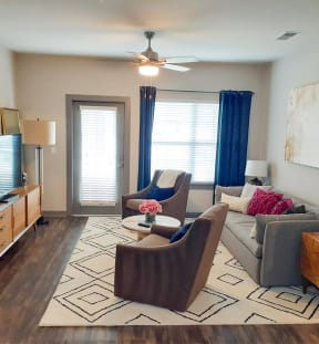 Spacious Living Room at One White Oak Apartments