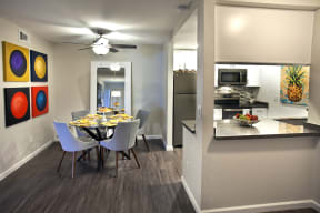 dining room with open kitchen