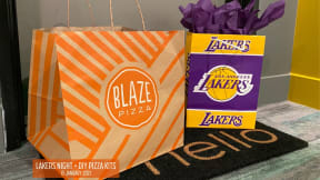 Blaze Pizza to go bag and Lakes gift bag from resident event at The Q Variel, California