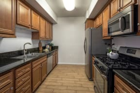 Fully Equipped kitchen at Le Blanc Apartment Homes, California