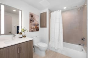 Bathroom With Bathtub at The Q Variel, Woodland Hills, CA, 91367