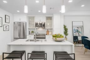 Gourmet Kitchen With Island at The Q Variel, Woodland Hills