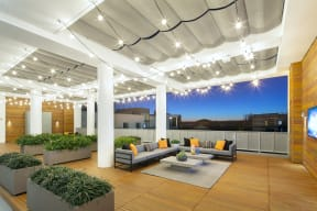Patio Lounge area at the Q Variel - Apartments in Woodland Hills