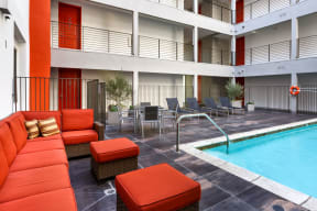 Pool Side Relaxing Area at The Social, North Hollywood, CA, 91601