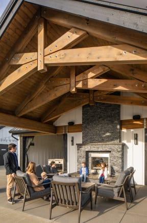 three seasons room fireplace area