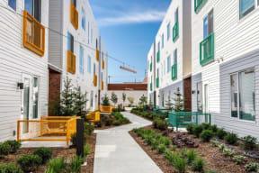 Pathway between apartment buildings