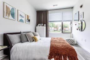 Model bedroom with natural light