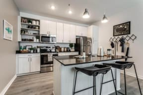 Model kitchen area with ample space