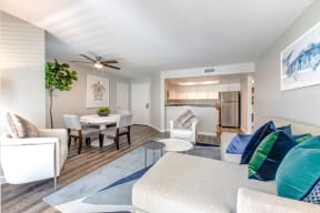 Apartments in San Clemente, CA - Modern Living With Stylish Decor, Hardwood Flooring and Opens to Dining Room with Kitchen