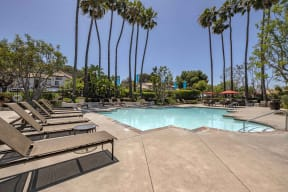 San Clemente CA Apartments - Rancho Del Mar Sparkling Pool with Lounge Chairs