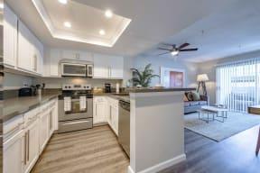 open living room & kitchen area
