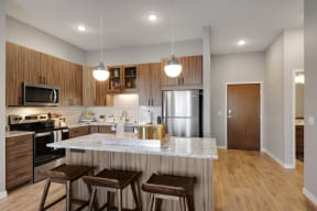 Bright kitchen at Nuvelo at Parkside Apartments in Apple Valley