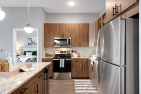 Stainless Steel Appliances in Kitchen - Nuvelo at Parkside Apartments