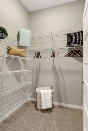 Walk in closet space at Nuvelo at Parkside Apartments